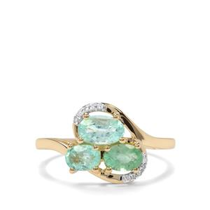 Paraiba Tourmaline Ring with Diamond in 9K Gold 1.34cts