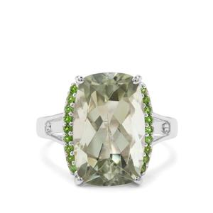 Prasiolite & Chrome Diopside Sterling Silver Ring ATGW 7.55cts