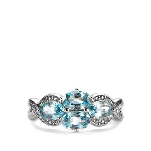 Ratanakiri Blue Zircon Ring with White Topaz in Sterling Silver 3.04cts