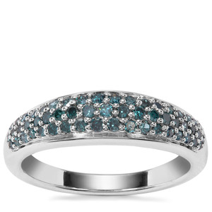 Blue Diamond Ring in Sterling Silver 0.51ct