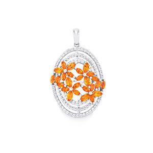 Padparadscha Topaz Pendant with White Topaz in Sterling Silver 3.90cts