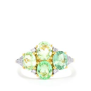 Paraiba Tourmaline & Diamond 18K Gold Tomas Rae Ring MTGW 2.31cts