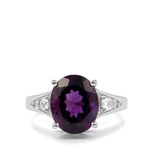 Zambian Amethyst Ring with White Topaz in Sterling Silver 4.83cts