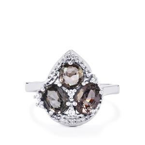 Burmese Multi-Colour Spinel Ring with White Zircon in Sterling Silver 3cts