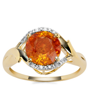 Aliva Sphalerite Ring with Diamond in 9K Gold 3.29cts