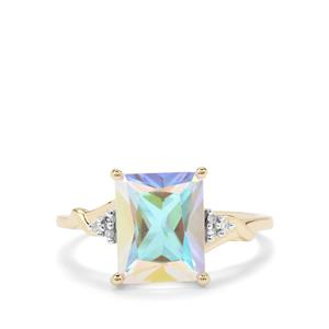 Mercury Mystic Topaz Ring with Diamond in 9K Gold 3.96cts
