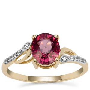 Malawi Garnet Ring with White Zircon in 9K Gold 1.80cts