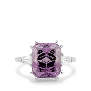 Sahl Cut Rose De France Amethyst Ring with White Zircon in Sterling Silver 6.70cts