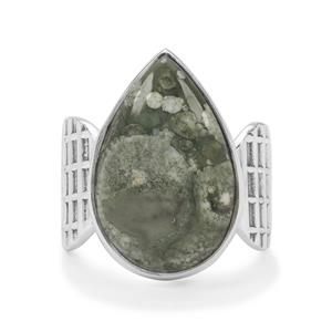 Rainforest Jasper Ring in Sterling Silver 9cts