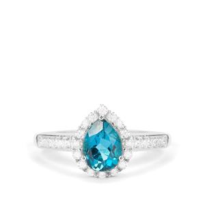 London Blue Topaz Ring with White Zircon in Sterling Silver 1.83cts