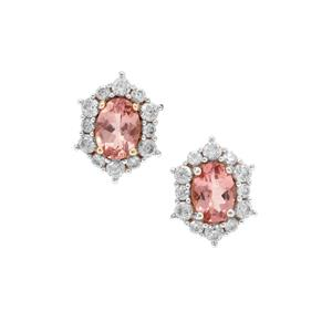 Pink Apatite Earrings with White Zircon in 9K Gold 2.75cts