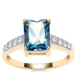 Santa Maria Topaz Ring with White Zircon in 10k Gold 3.09cts