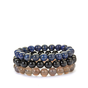 438ct Black, Grey Agate & Lapis Lazuli Set of 3 Nugget Bead Bracelet