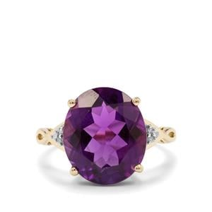 Zambian Amethyst Ring with Diamond in 10k Gold 7.06cts