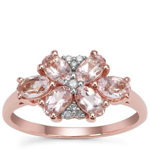 Cherry Blossom™ Morganite Ring with Diamond in 9K Rose Gold 1.33cts