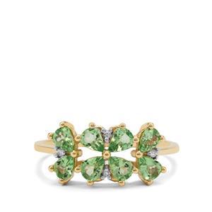 Tsavorite Garnet & Diamond 9K Gold Ring ATGW 1.18cts