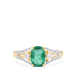 Zambian Emerald Ring with Diamond in 14K Gold 1.07cts