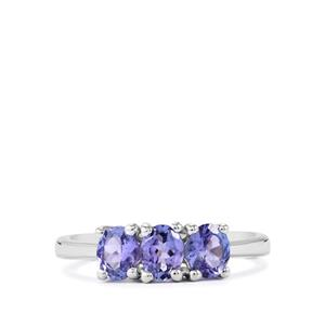 AA Tanzanite Ring in Sterling Silver 1.13cts