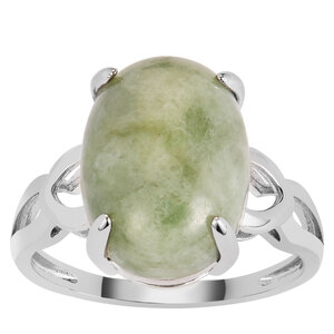 Moss-in-Snow Jade Ring in Sterling Silver 8.60cts