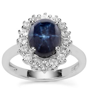 Madagascan Blue Star Sapphire Ring with White Zircon in Sterling Silver 5.25cts