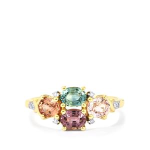 Natural Sakaraha Rainbow Sapphire Ring with Diamond in 9K Gold 1.86cts