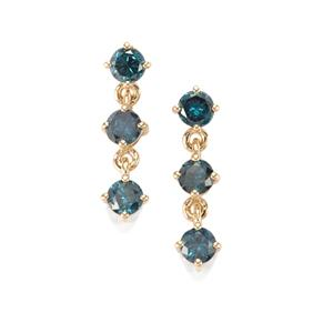 Blue Diamond Earrings in 10K Gold 1ct