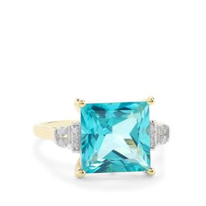 Batalha Topaz Ring with Diamond in 9K Gold 5.88cts