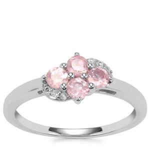 Mozambique Pink Spinel Ring with White Topaz in Sterling Silver 0.45cts