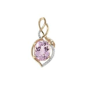 Kolum Kunzite Pendant with Diamond in 9K Gold 3.69cts