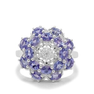 Tanzanite & White Zircon Sterling Silver Ring ATGW 3.27cts