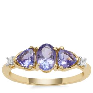 AA Tanzanite Ring with White Zircon in 9K Gold 1.29cts