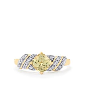 Csarite® Ring with White Zircon in 10k Gold 1.22cts