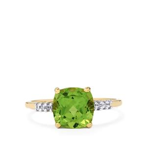 Changbai Peridot Ring with White Zircon in 10k Gold 2.39cts