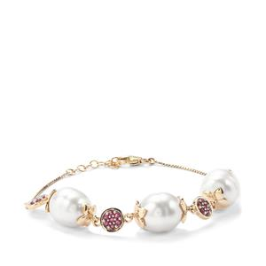 South Sea Cultured Pearl Bracelet with Thai Ruby in 10K Gold (12mm X 10.50mm)