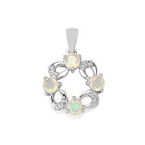 Ethiopian Opal Pendant with White Topaz in Sterling Silver 0.79ct