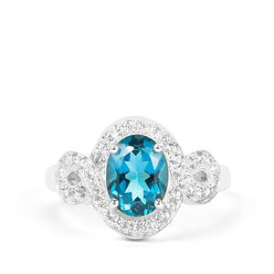 London Blue Topaz Ring with White Zircon in Sterling Silver 2.71cts