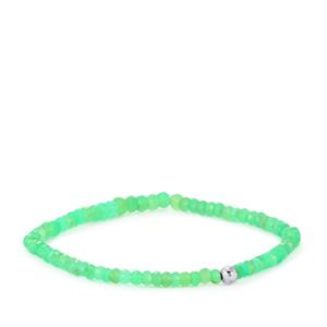 Chrysoprase Stetachable Graduated Bead Bracelet with Silver Ball 21cts
