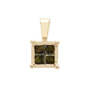 1/4ct Green Diamond 9K Gold Pendant