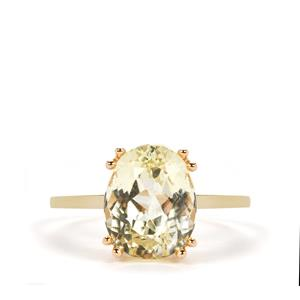 4.61ct Minas Novas Golden Kunzite 9K Gold Ring