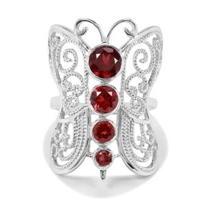 2.10ct Rajasthan & Nampula Garnet Sterling Silver Butterfly Ring