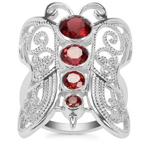 Rajasthan & Nampula Garnet Butterfly Ring in Sterling Silver 2.10cts