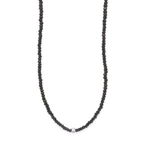 Black Spinel Bead Necklace with Silver Ball in Sterling Silver 119cts