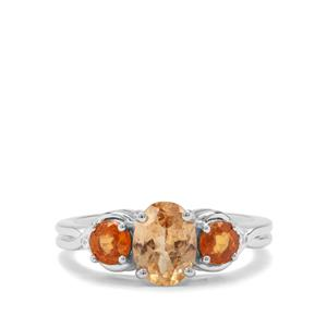 Imperial, Mandarin Garnet & White Zircon Sterling Silver Ring ATGW 2.50cts