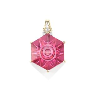 Lehrer QuasarCut Pink Topaz Pendant with Diamond in 10K Gold 6.79cts