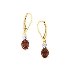 Bekily Color Change Garnet Earrings with Diamond in 18k Gold 2.63cts