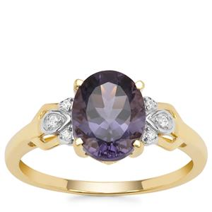 Montezuma Blue Quartz Ring with White Zircon in 9K Gold 1.76cts
