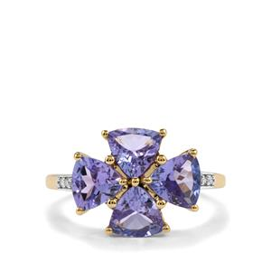 AA Tanzanite Ring with Diamond in 10k Gold 2.91cts