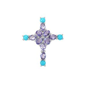 AA Tanzanite Pendant with Sleeping Beauty Turquoise in Sterling Silver 2.06cts