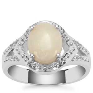 Coober Pedy Opal Ring with White Zircon in Sterling Silver 1.50cts