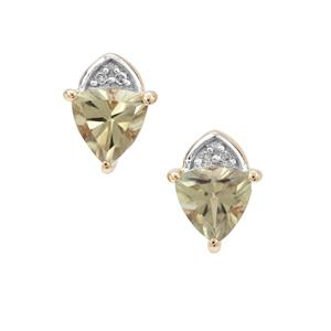Csarite® & Diamond 9K Gold Earrings ATGW 1.70cts